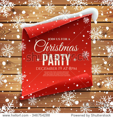 Christmas party invitation poster. Red  curved  paper banner on wooden planks  with snow and snowflakes. Vector illustration.
