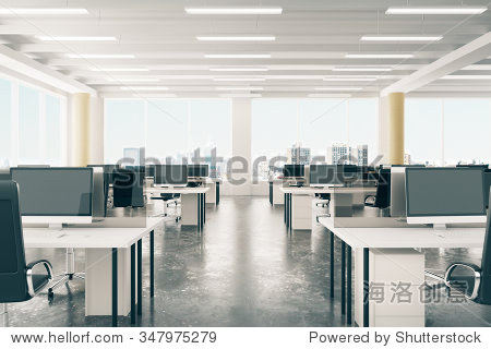 Open space office in loft style hangar with windows in floor and city view 3D Render
