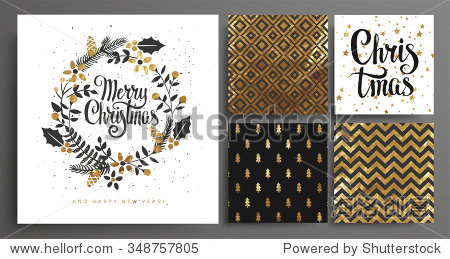 Christmas and New Year's  Template Set for Greeting Scrapbooking  Congratulations  Invitations  Tags  Stickers  Postcards.  Christmas Posters set. Vector illustration.