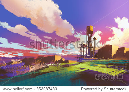 rural landscape with little houses and field under colorful sky illustration painting