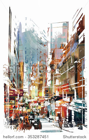abstract art of cityscape illustration painting
