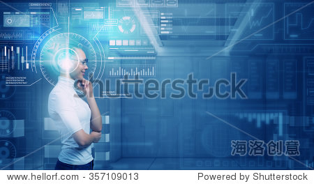 Virtual holographic interface and young thoughtful woman wearing glasses