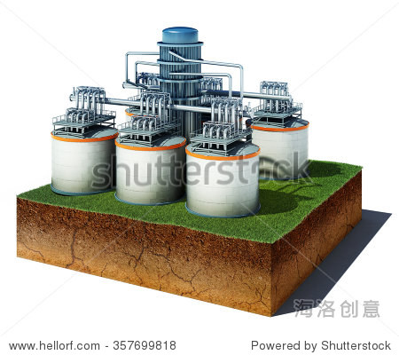 3d illustration of soil cutaway. Aerial view dirt cube with oil or gas storage isolated on white background