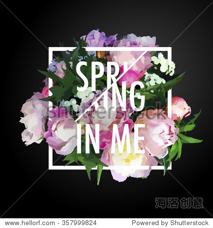 Floral realystic motivation poster in square blooming for Spring craft shows near me