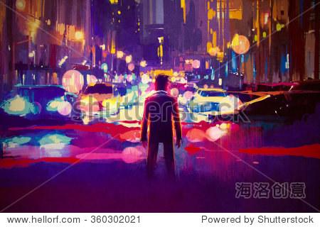 man standing on illuminated street at night illustration painting