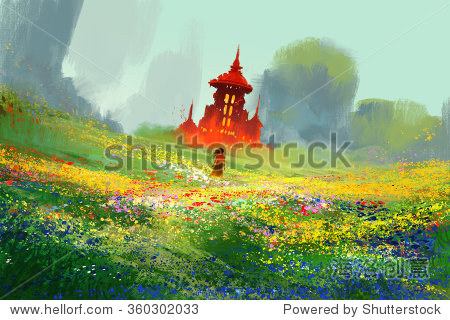 woman in flower fields next to red castle and mountain illustration painting