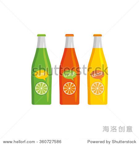 Vector set from three bottle with soft drinks (on white background). Lime  lemon  orange.