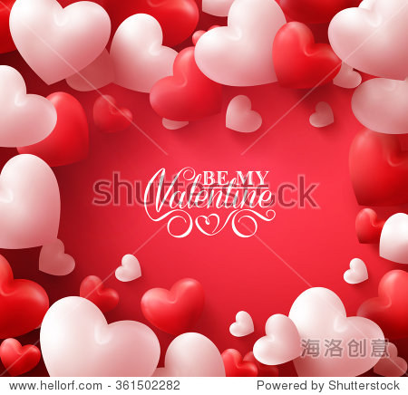Colorful Soft and Smooth Valentine Hearts in Red Background with Happy Valentines Day Greetings in the Middle. Vector Illustration