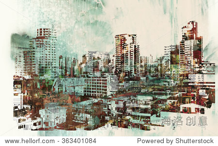 cityscape with abstract textures illustration painting