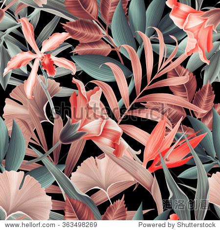 Seamless tropical flower, plant and leaf pattern background, retro botanical style. Stylish flowers.