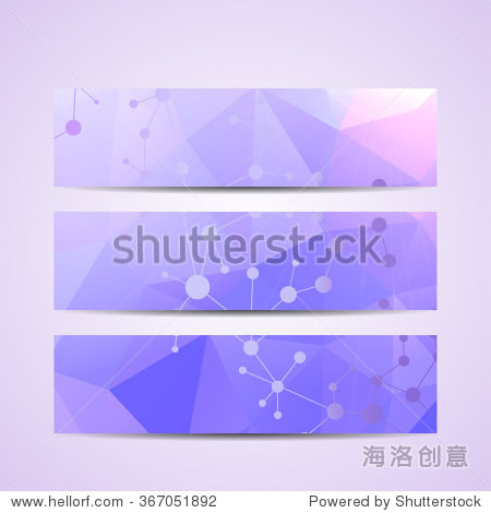 Abstract geometric banners molecule and communication. Science and technology design  structure DNA  chemistry  medical background  business and website templates. Vector illustration