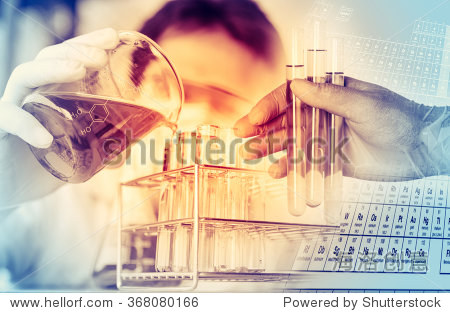 scientist with equipment and science experiments  Laboratory glassware containing chemical liquid  science research background.