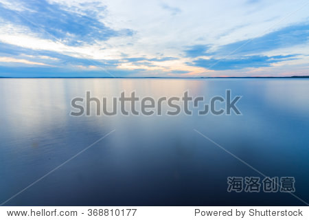 Peaceful Tranquil Water Landscape Shot at Long Exposure with Calm Flat Surface