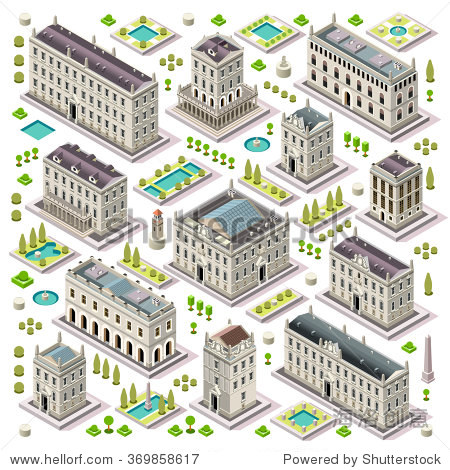 Vector Isometric Building City Palace Real Estate. Public Building Collection Hotel Garden. Isometric Tile Set. 3d Urban city Building Map Collection Illustration Element Set Business Vector Game Icon