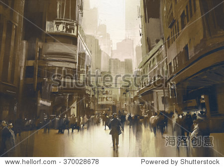 people on street in city cityscape painting with vintage style