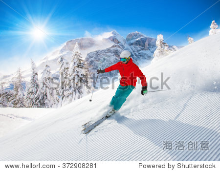 Freeride in fresh powder snow. Skiing.