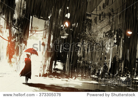 lonely woman with umbrella in abandoned city digital painting illustration