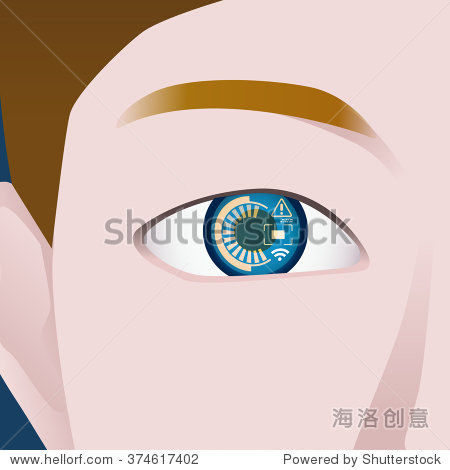 various display on contact lens  image illustration  vector