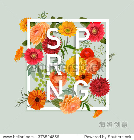 Floral Spring Graphic Design - with Colorful Flowers - for t-shirt  fashion  prints - in vector