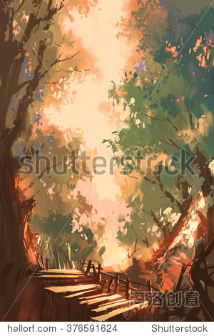 colorful forest background painting illustration