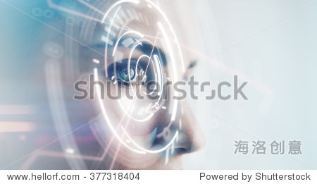Closeup of woman eye with visual effects  isolated on white background. Horizontal