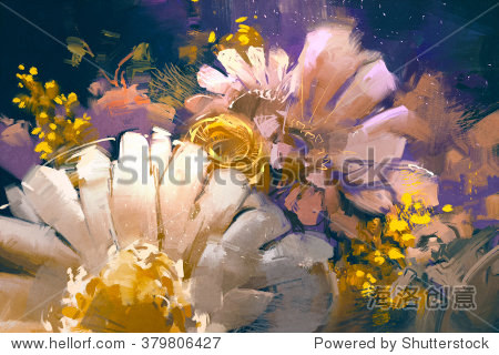 bouquet flowers in oil painting style illustration