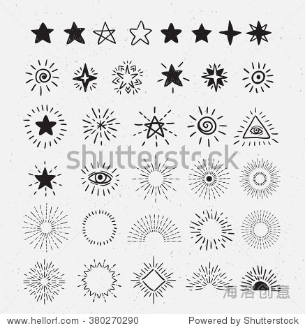 Set Of Vintage Sunburst and stars.  Hand-Drawn Vector Hipster Design Elements on the textured background.