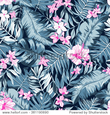 vector seamless graphical artistic tropical nature pattern  spring summer time  rain forest flora  colorful  original  stylish background print with banana  palm leaf  philodendron  hibiscus flower