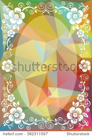 Abstract floral border on a green-pink polygonal background.