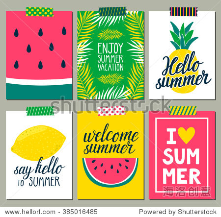 Vector set of bright summer cards. Beautiful summer posters with pineapple  watermelon  lemon  palm leaves and hand written text. Journal cards.