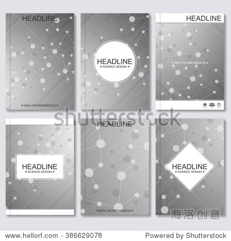 Science vector background. Modern vector templates for brochure  flyer  cover magazine or report in A4 size. Molecule structure and communication on the gray background.