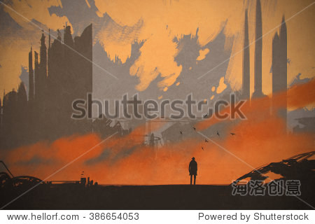 man standing at abandoned city illustration painting