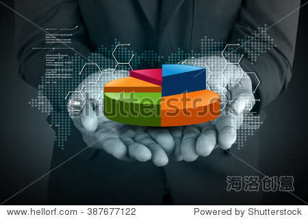 Business man showing pie chart in color background