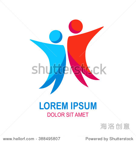 Vector Happy People Logo  Friends  Family  Partners  Couple in Love Concept