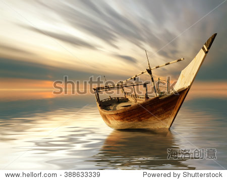 a lonely boat in the middle of the sea