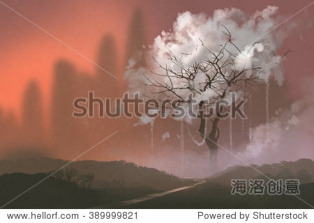 cloud tree path to heaven illustration painting