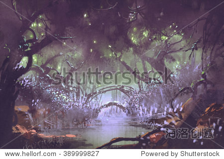 enchanted forest fantasy landscape painting illustration