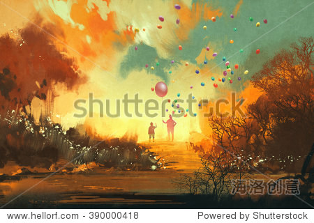 boy and magician holding balloon standing on a path of fantasy land illustration