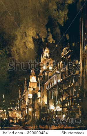The Bund Shanghai cityscape digital painting illustration