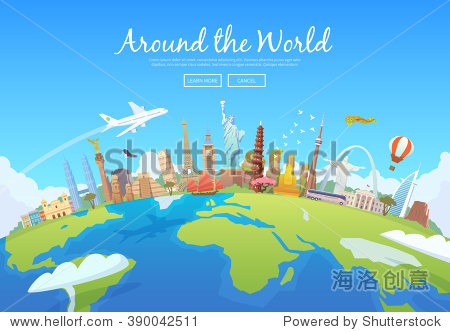 Travel to World. Road trip. Tourism. Landmarks on the globe. Concept website template. Vector illustration. Modern flat design.