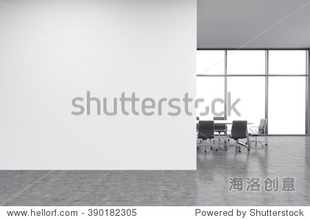 Empty office  white wall in front of panoramic window  table for meetings. Concept of new office. 3D rendering