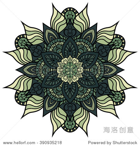 Mandala. Round ornament floral pattern. Decorative element. Oriental motif. Flower pattern isolated on white background. Vector illustration