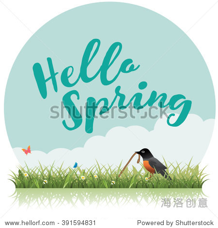 Spring word  flowers  grass  robin and butterfly vector. EPS 10.