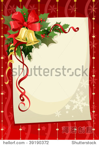 Christmas card with bells and copy space