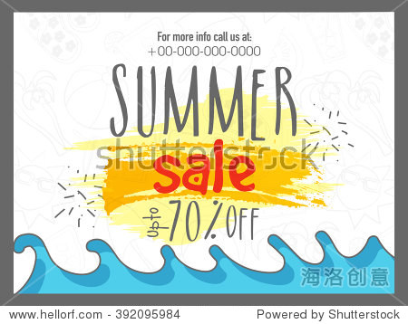 Summer Sale Banner  Sale Poster  Sale Flyer  Sale Vector. 70% off. Vector illustration.