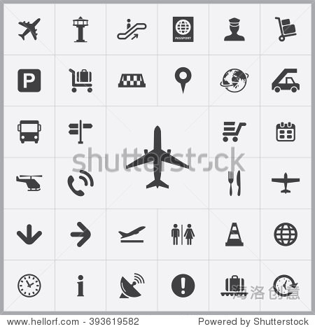 Simple airport icons set. Universal airport icons to use for web and mobile UI  set of basic UI airport elements