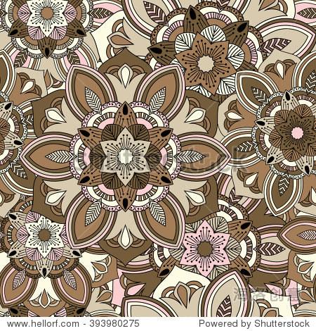 Seamless round ornament pattern. Floral mandala pattern