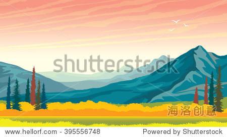 Morning pink sunrise with blue mountains and yellow grass. Vector autumn panorama - wild nature.