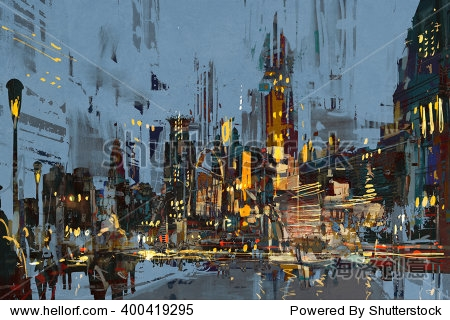 digital painting of city at night with colorful lights illustration