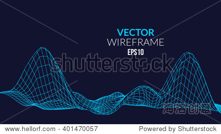 Wireframe mesh Landscape Background. Futuristic Landscape with line Grid. Low Poly 3D Wireframe Mapping. Network Cyber Technology background.